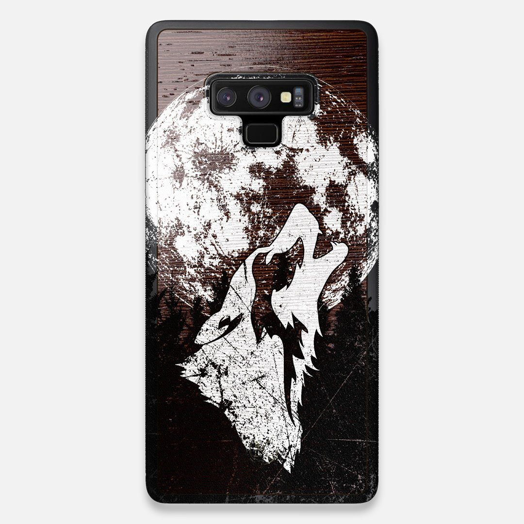 Front view of the high-contrast howling wolf on a full moon printed on a Wenge Wood Galaxy Note 9 Case by Keyway Designs