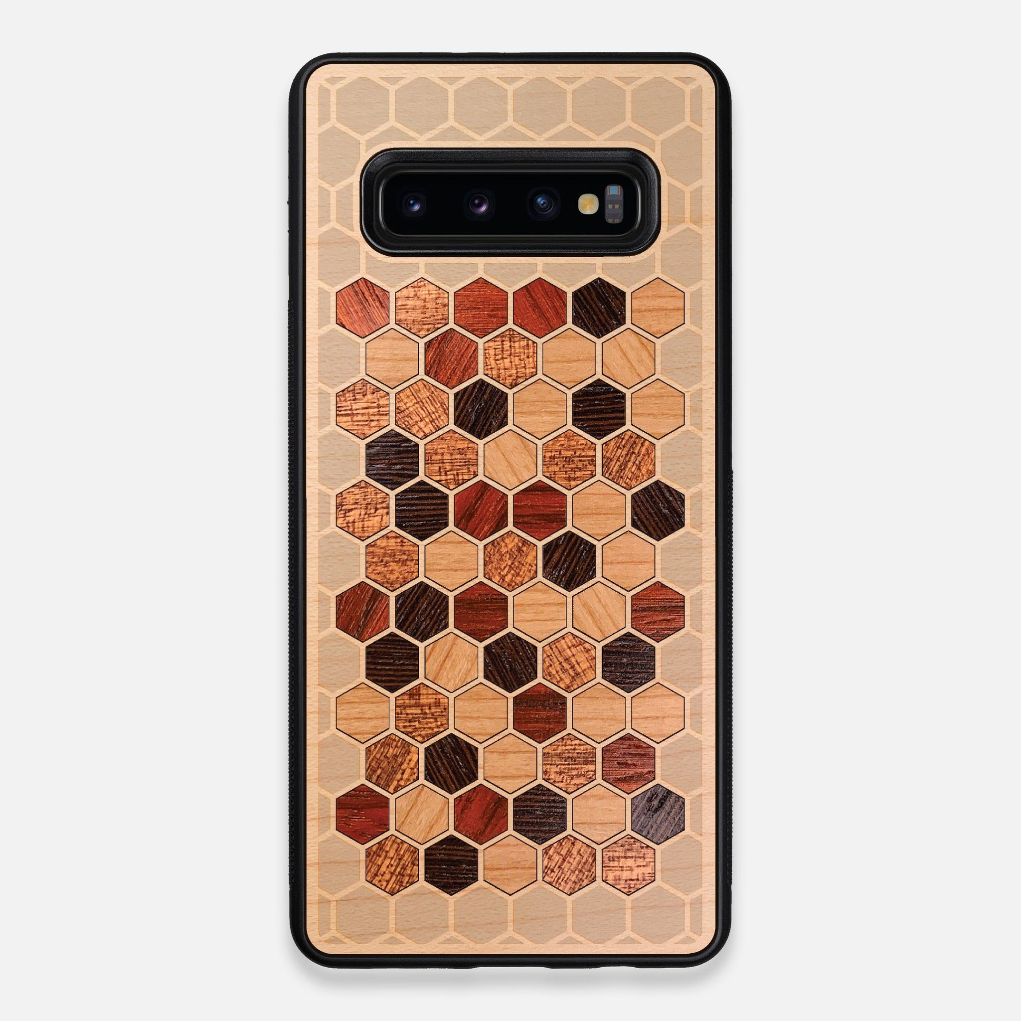 Front view of the Cellular Maple Wood Galaxy S10+ Case by Keyway Designs