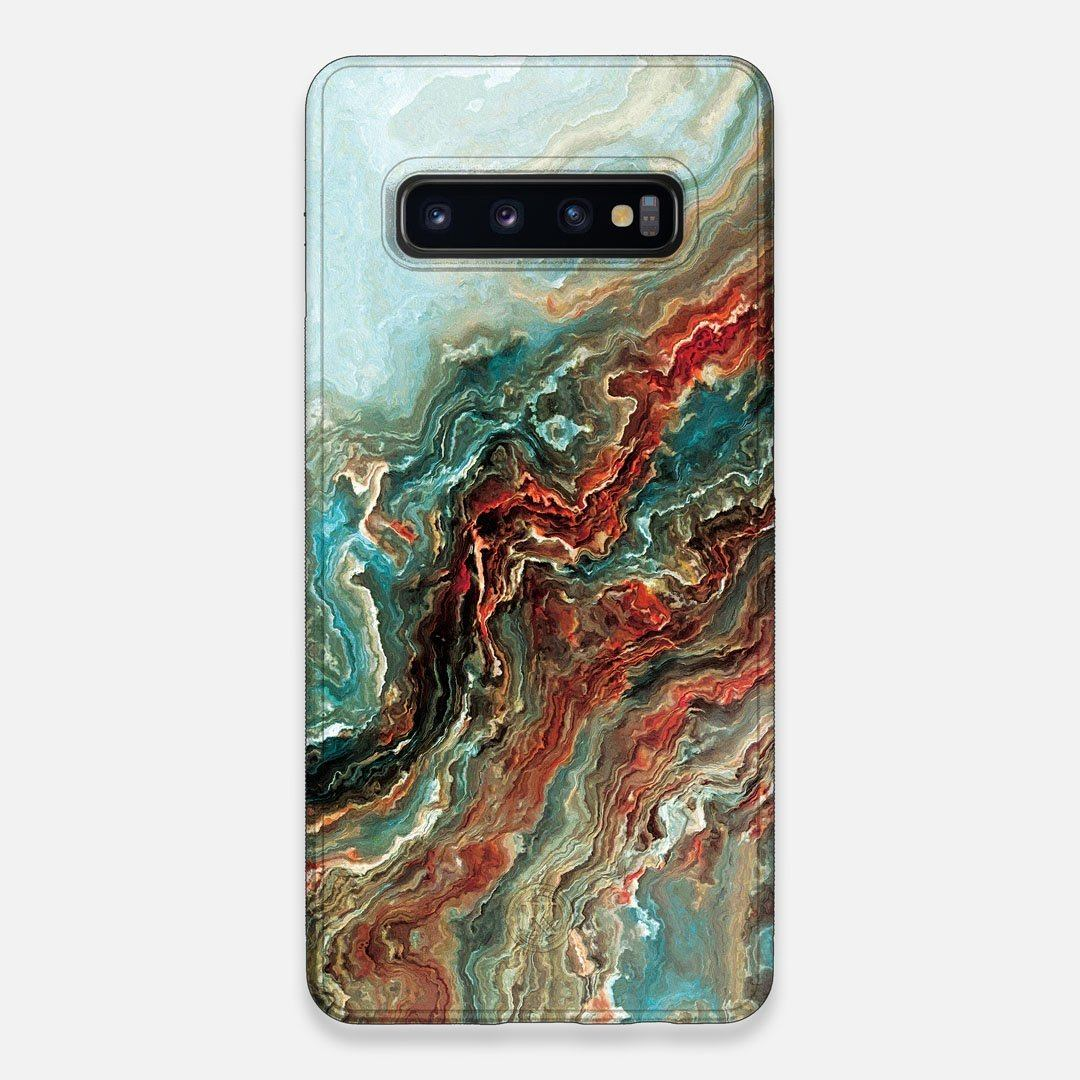 Front view of the vibrant and rich Red & Green flowing marble pattern printed Wenge Wood Galaxy S10+ Case by Keyway Designs