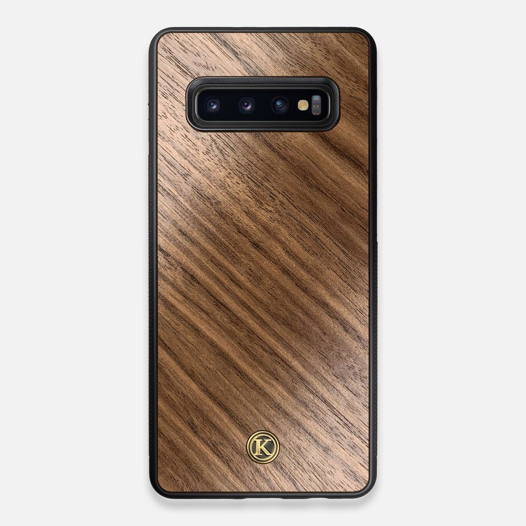Front view of the Walnut Pure Minimalist Wood Galaxy S10+ Case by Keyway Designs