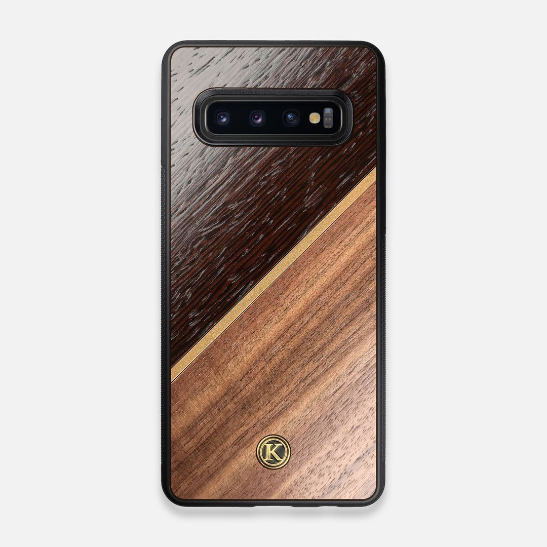 Front view of the Alium Walnut, Gold, and Wenge Elegant Wood Galaxy S10 Case by Keyway Designs