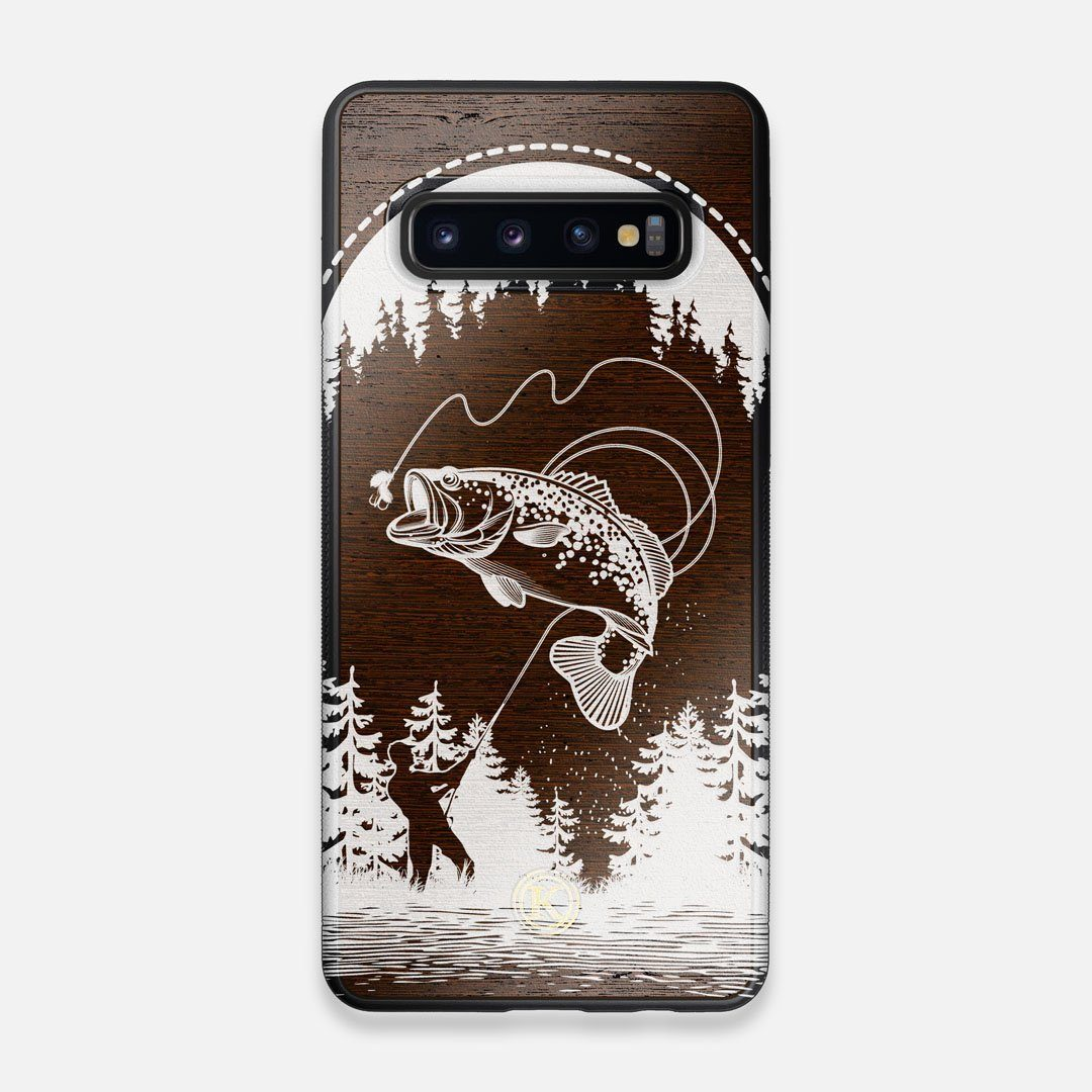 Front view of the high-contrast spotted bass printed Wenge Wood Galaxy S10 Case by Keyway Designs