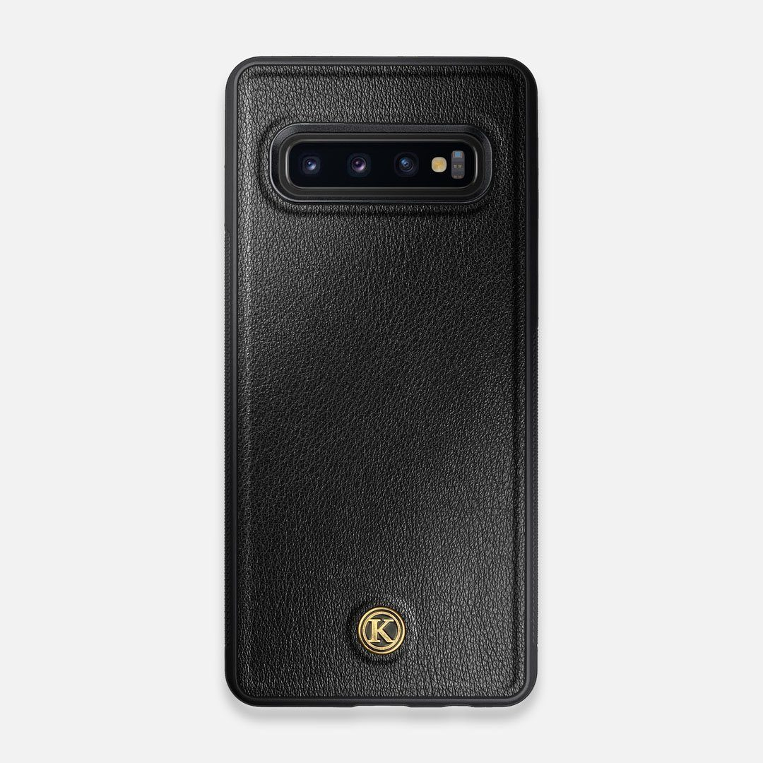 Front view of the Blank Black Leather Galaxy S10 Case by Keyway Designs