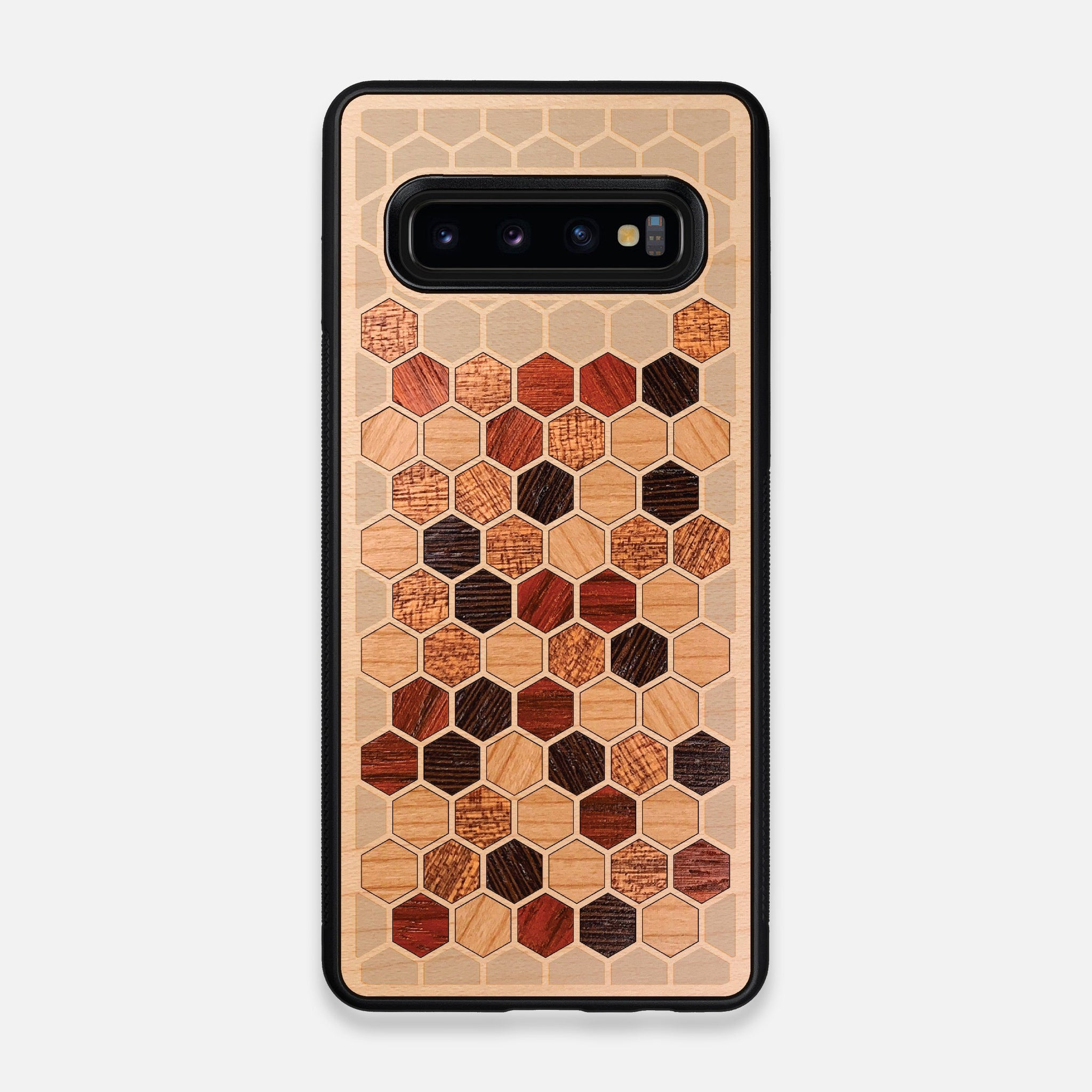 Front view of the Cellular Maple Wood Galaxy S10 Case by Keyway Designs
