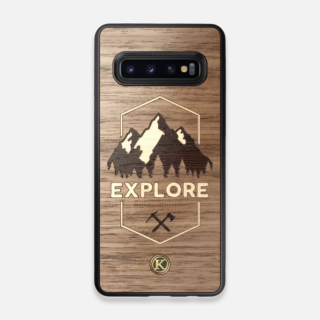 Front view of the Compass By Nrth Blue Denim Galaxy S10 Case by Keyway Designs