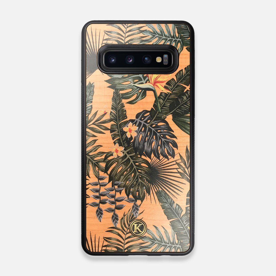 Front view of the Floral tropical leaf printed Cherry Wood Galaxy S10 Case by Keyway Designs