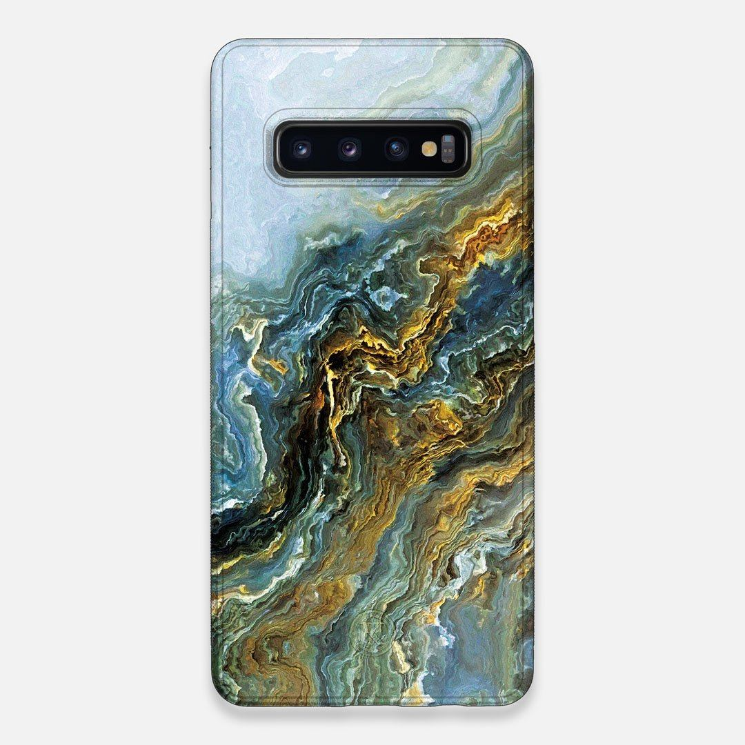 Front view of the vibrant and rich Blue & Gold flowing marble pattern printed Wenge Wood Galaxy S10+ Case by Keyway Designs