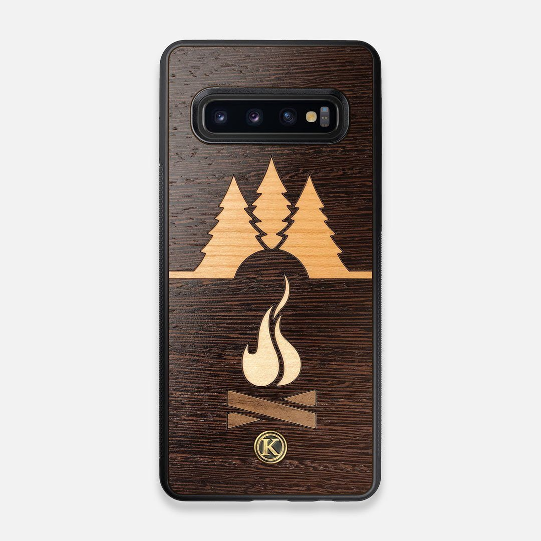 Front view of the Nomad Campsite Wood Galaxy S10 Case by Keyway Designs