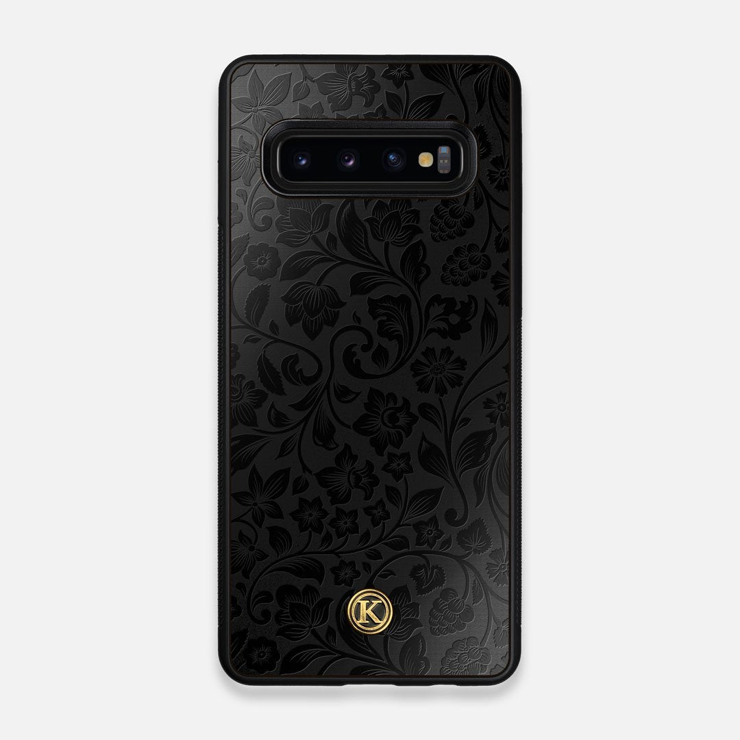 Front view of the highly detailed midnight floral engraving on matte black impact acrylic Galaxy S10 Case by Keyway Designs