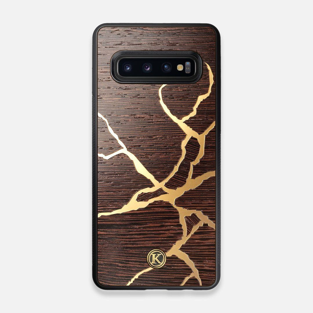 Front view of the Kintsugi inspired Gold and Wenge Wood Galaxy S10 Case by Keyway Designs