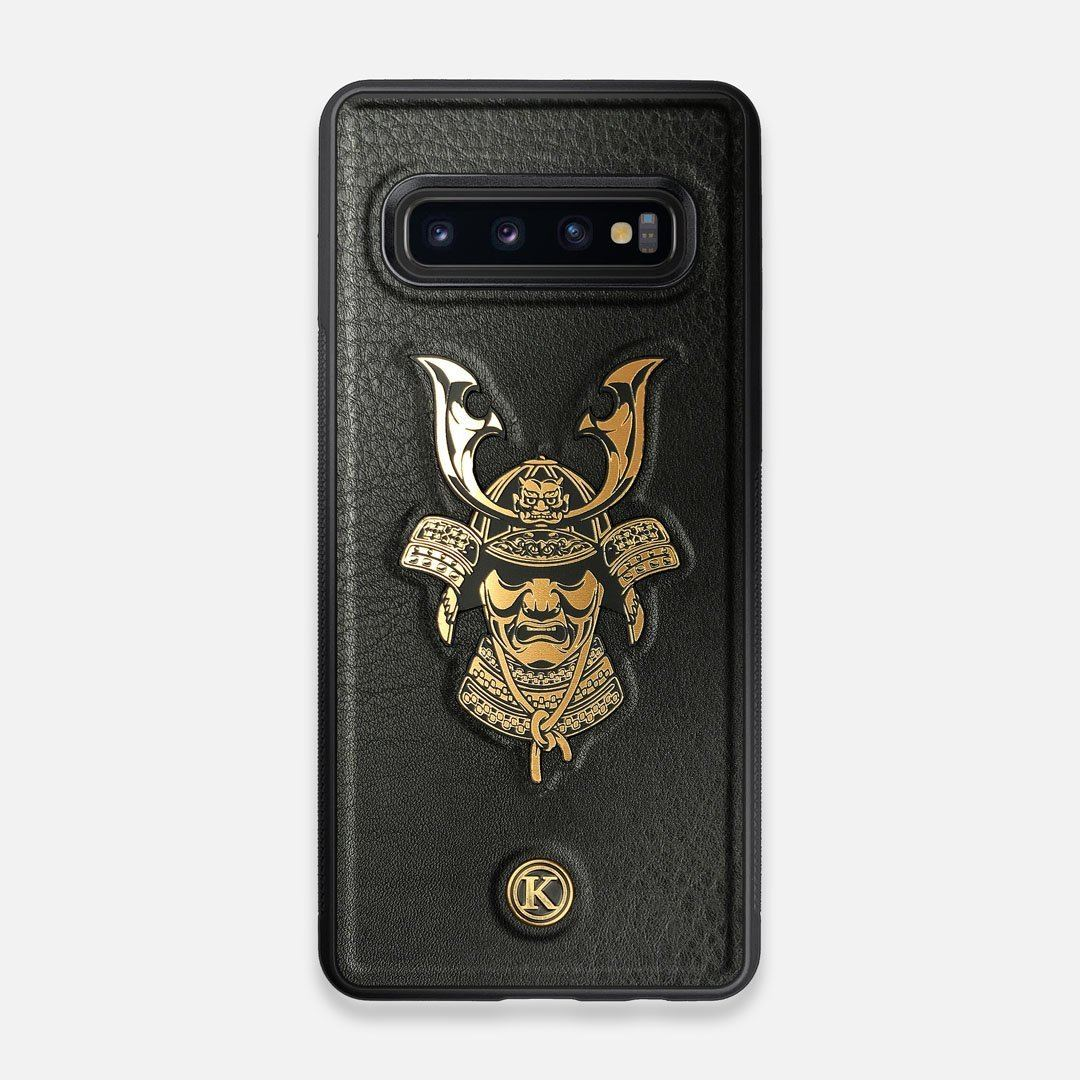 Front view of the Samurai Black Leather Galaxy S10 Case by Keyway Designs