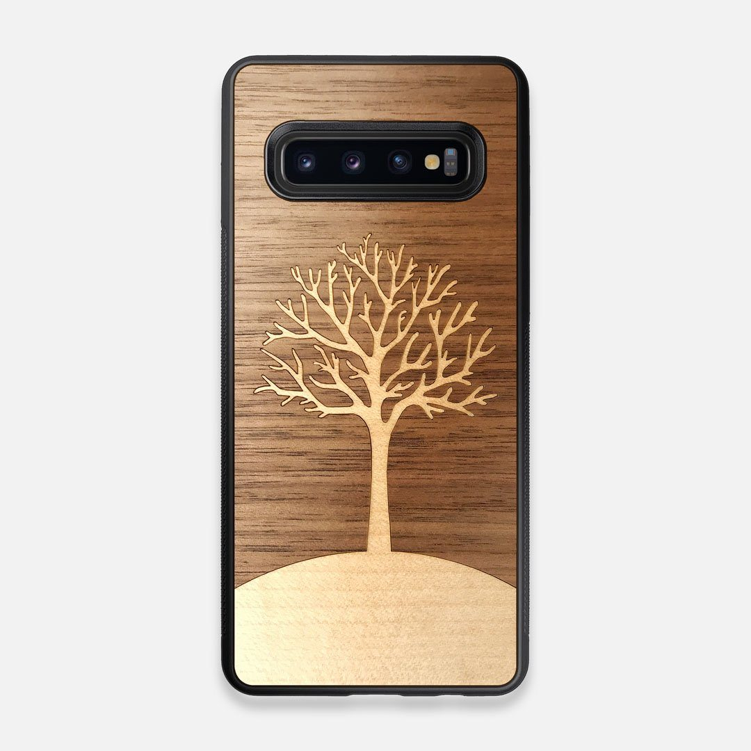 Front view of the Tree Of Life Walnut Wood Galaxy S10 Case by Keyway Designs