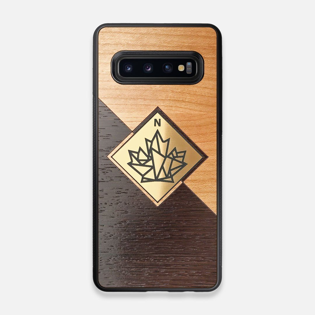 Front view of the True North by Northern Philosophy Cherry & Wenge Wood Galaxy S10 Case by Keyway Designs