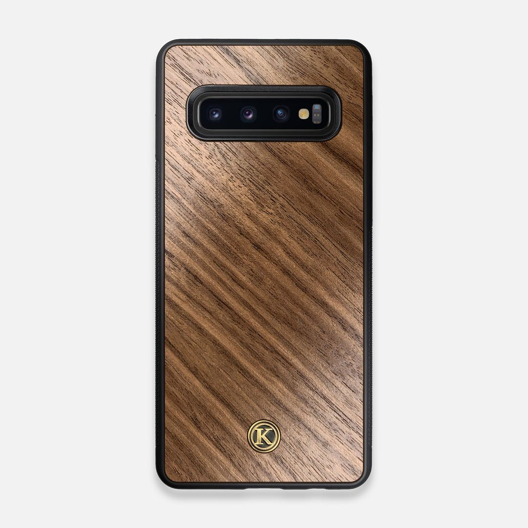 Front view of the Walnut Pure Minimalist Wood Galaxy S10 Case by Keyway Designs