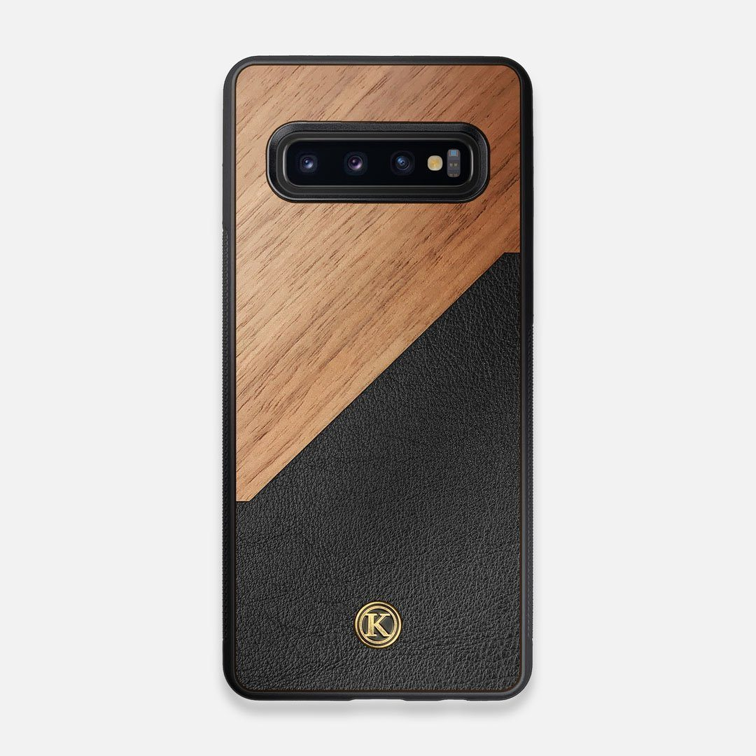 Front view of the Walnut Rift Elegant Wood & Leather Galaxy S10 Case by Keyway Designs