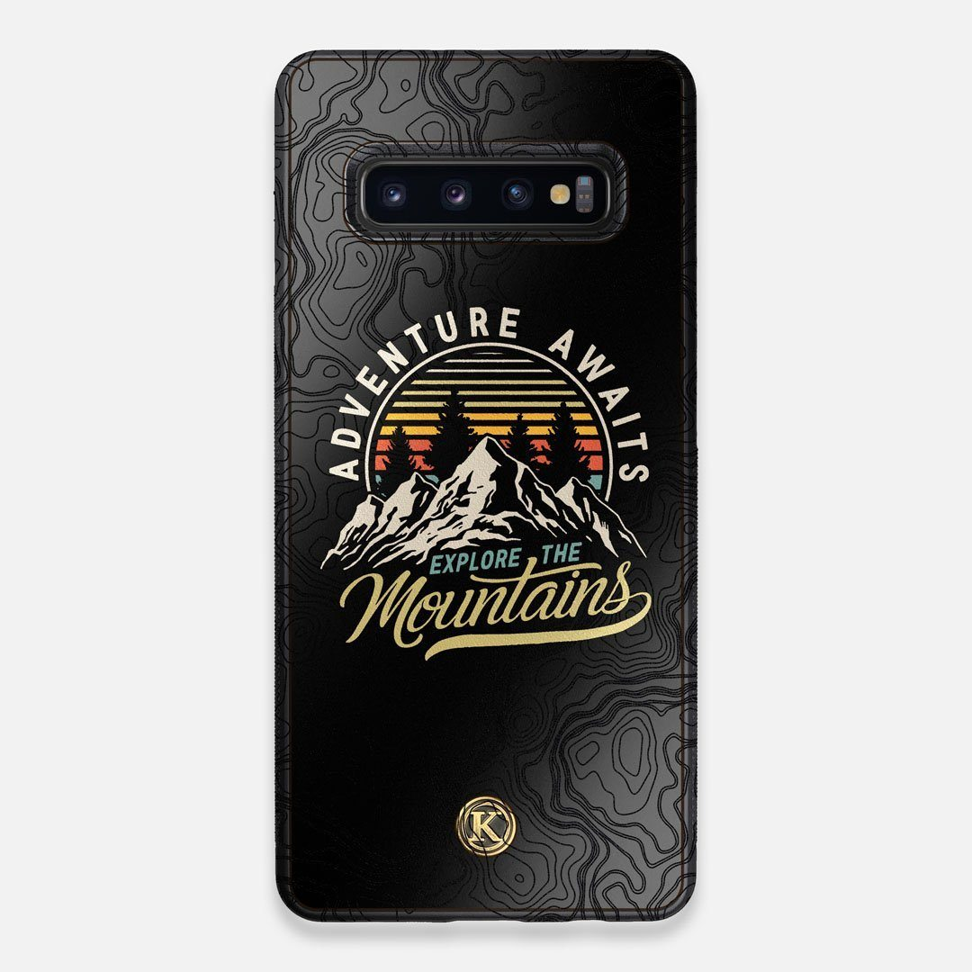 Front view of the crisp topographical map with Explorer badge printed on matte black impact acrylic Galaxy S10+ Case by Keyway Designs