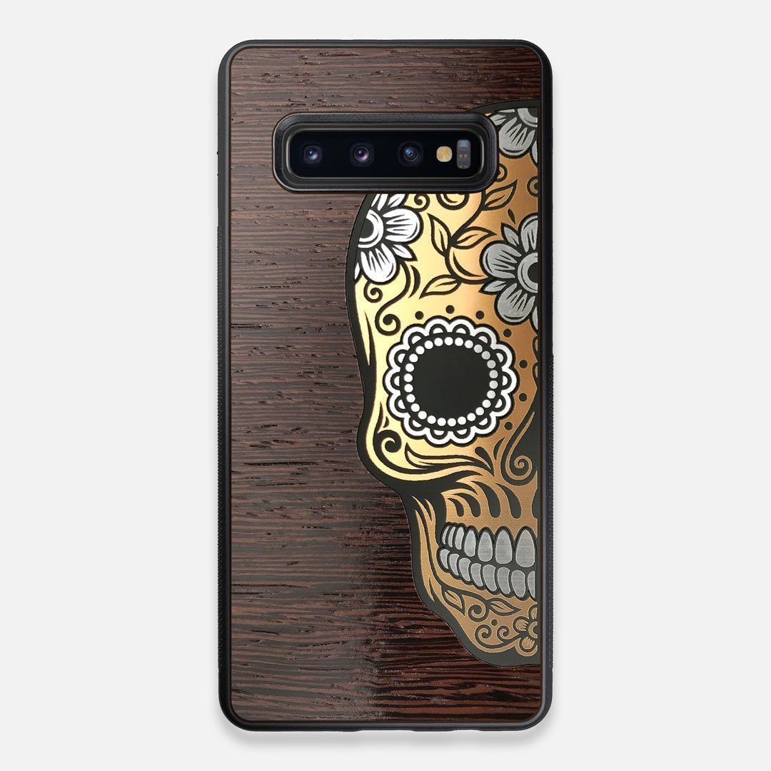 Front view of the Calavera Wood Sugar Skull Wood Galaxy S10+ Case by Keyway Designs