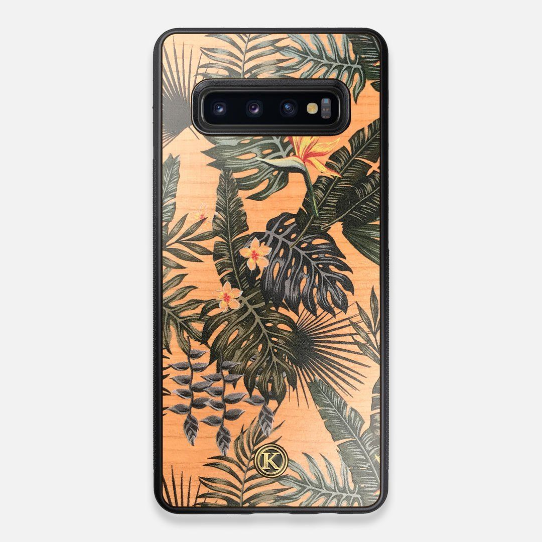 Front view of the Floral tropical leaf printed Cherry Wood Galaxy S10+ Case by Keyway Designs