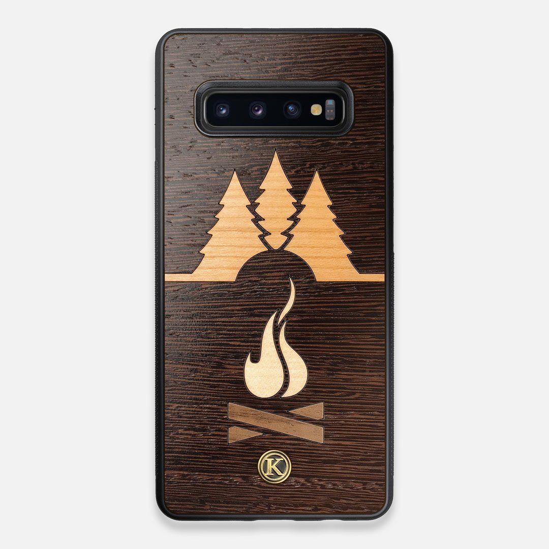 Front view of the Nomad Campsite Wood Galaxy S10+ Case by Keyway Designs