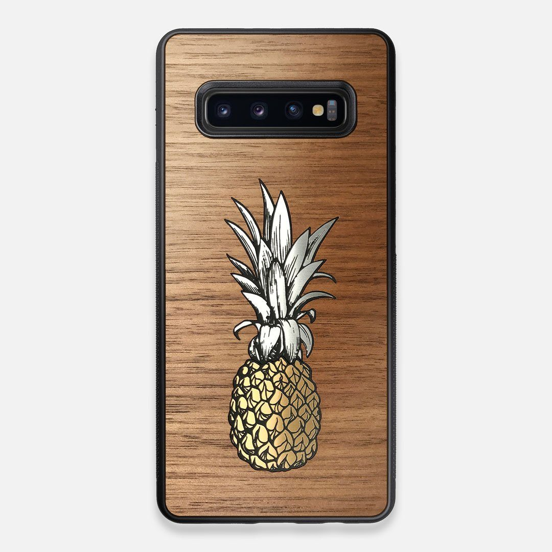 Front view of the Pineapple Walnut Wood Galaxy S10+ Case by Keyway Designs