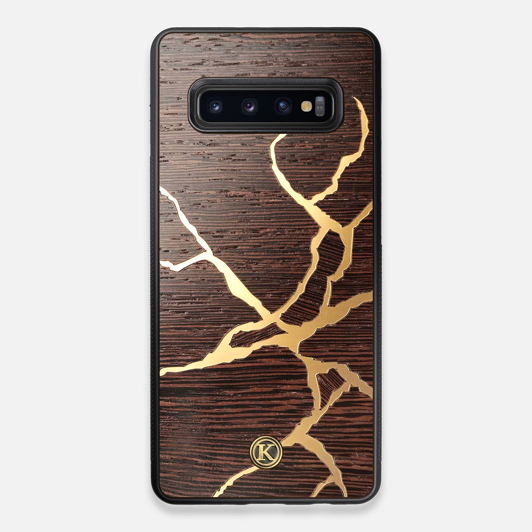 Front view of the Kintsugi inspired Gold and Wenge Wood Galaxy S10+ Case by Keyway Designs