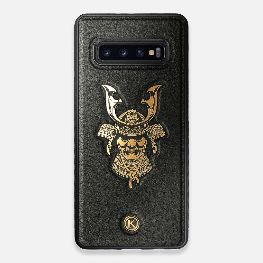 Front view of the Samurai Black Leather Galaxy S10+ Case by Keyway Designs