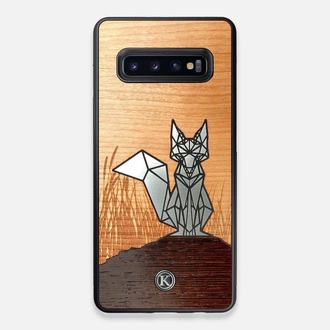 Front view of the Silver Fox & Cherry Wood Galaxy S10+ Case by Keyway Designs
