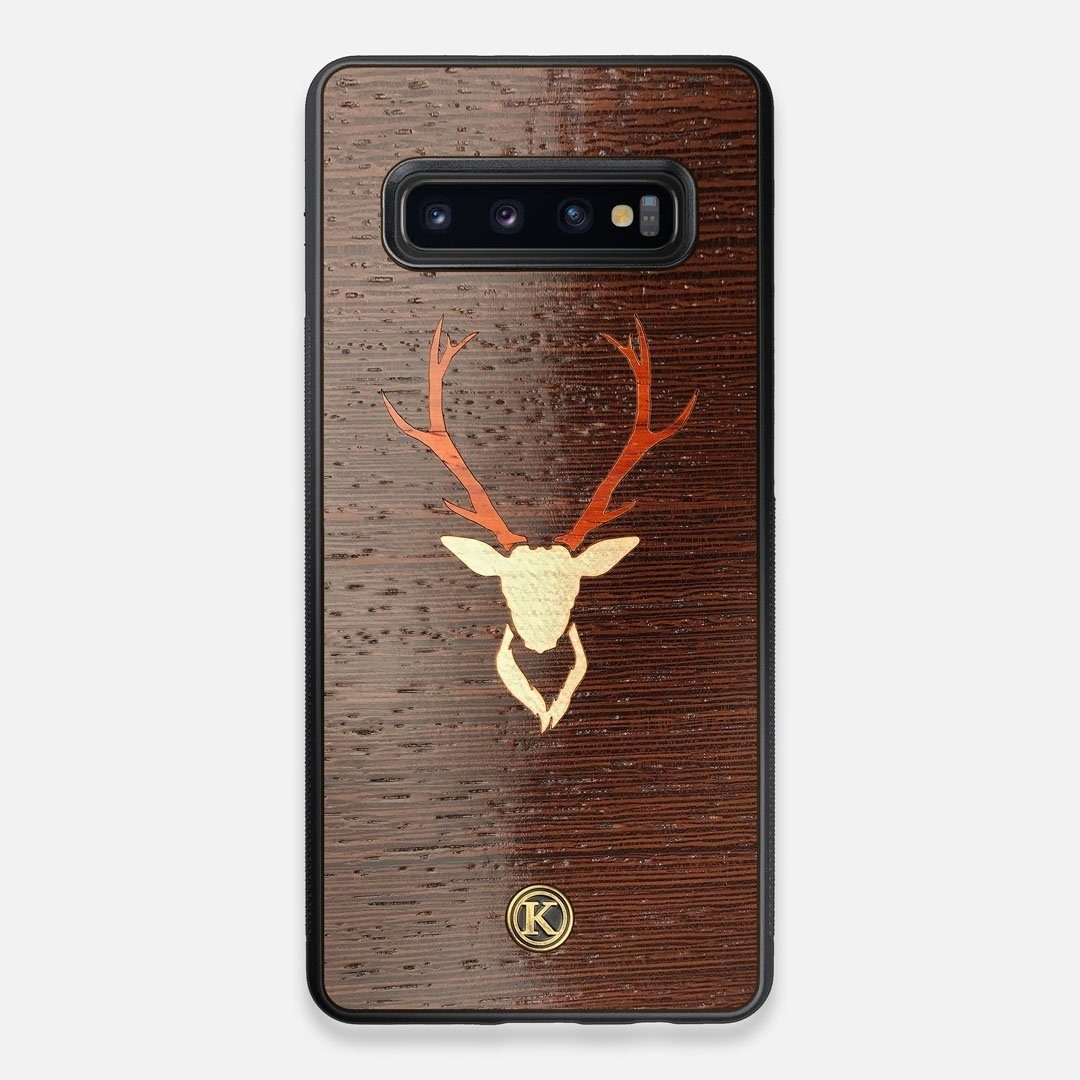 Front view of the Stag Wenge Wood Galaxy S10+ Case by Keyway Designs