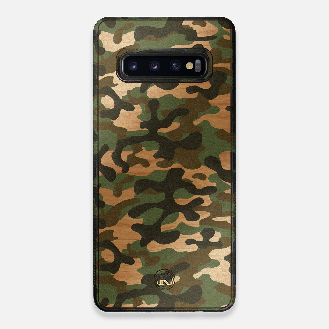 Front view of the stealth Paratrooper camo printed Wenge Wood Galaxy S10+ Case by Keyway Designs