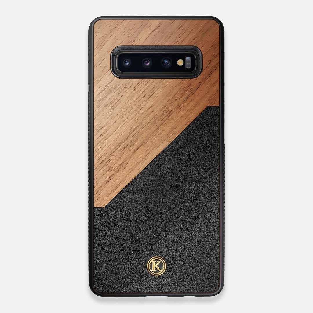 Front view of the Walnut Rift Elegant Wood & Leather Galaxy S10+ Case by Keyway Designs