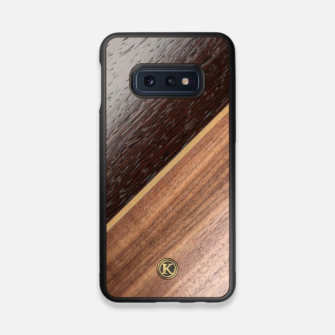 Front view of the Alium Walnut, Gold, and Wenge Elegant Wood Galaxy S10e Case by Keyway Designs
