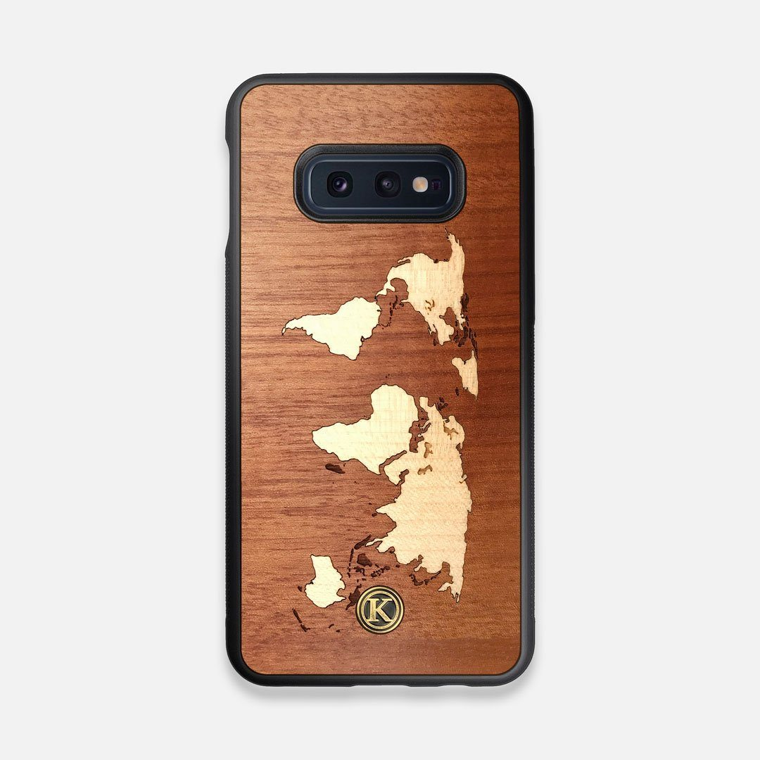 Front view of the Atlas Sapele Wood Galaxy S10e Case by Keyway Designs