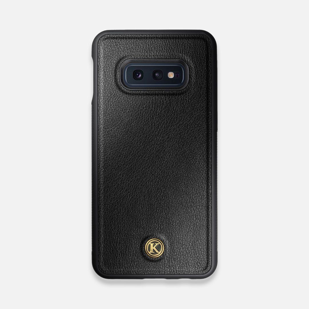 Front view of the Blank Black Leather Galaxy S10e Case by Keyway Designs