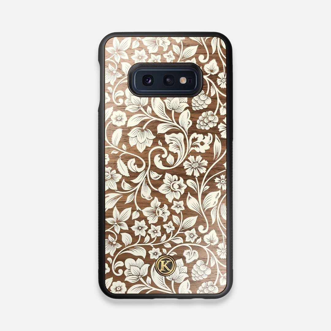 Front view of the Blossom Whitewash Wood Galaxy S10e Case by Keyway Designs