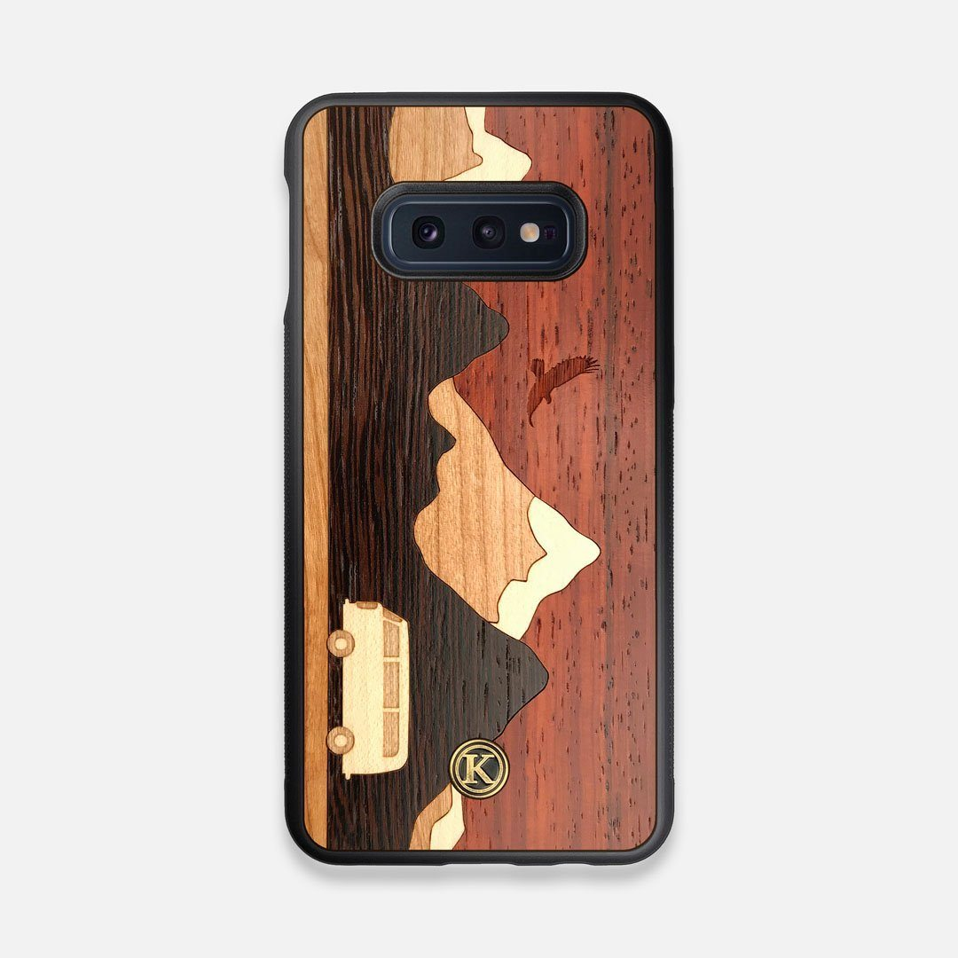 Front view of the Compass By Nrth Blue Denim Galaxy S10e Case by Keyway Designs