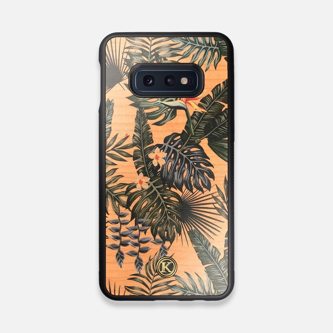 Front view of the Floral tropical leaf printed Cherry Wood Galaxy S10e Case by Keyway Designs