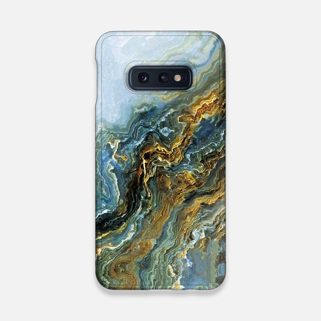 Front view of the vibrant and rich Blue & Gold flowing marble pattern printed Wenge Wood Galaxy S10e Case by Keyway Designs