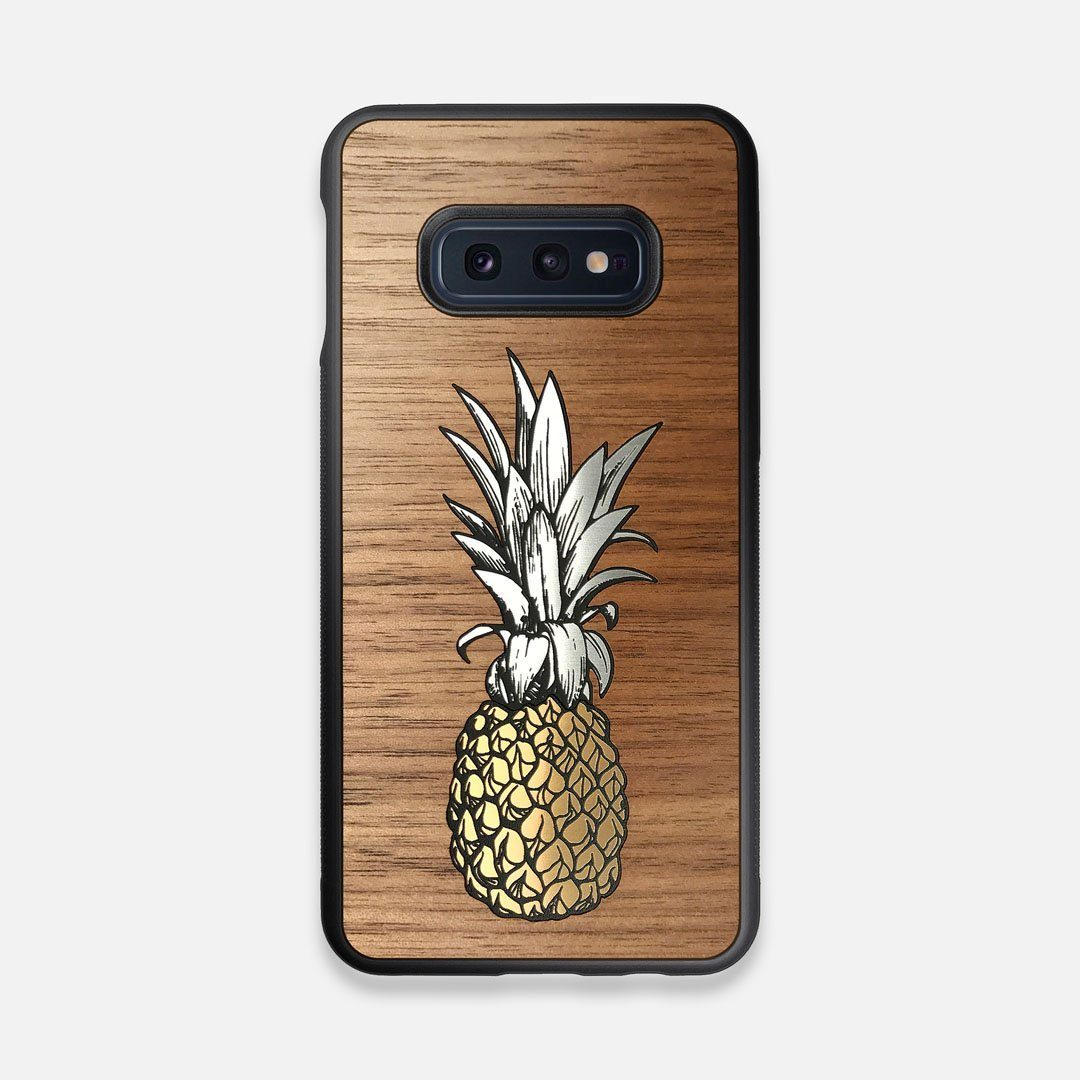 Front view of the Pineapple Walnut Wood Galaxy S10e Case by Keyway Designs