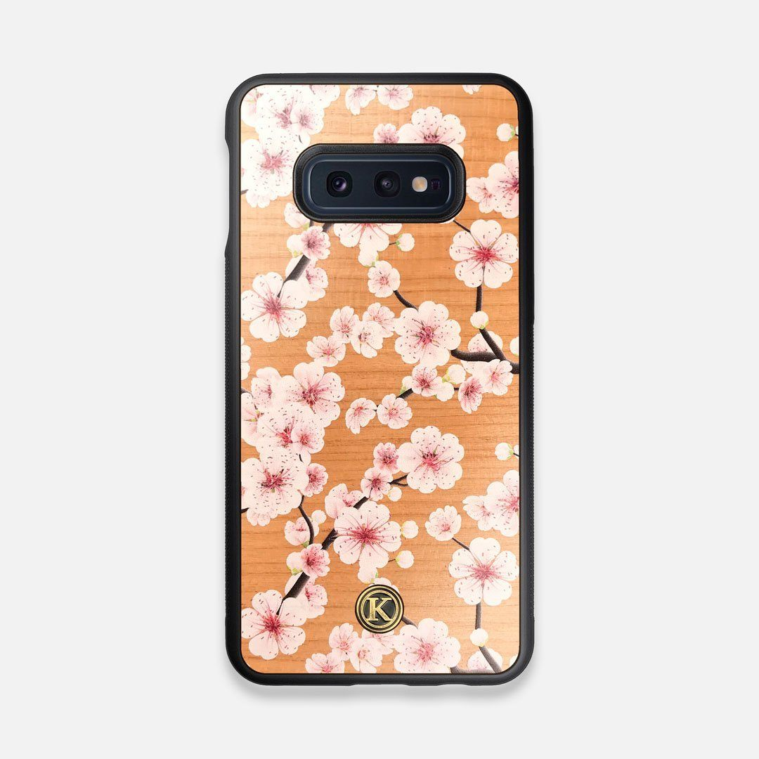 Front view of the Sakura Printed Cherry-blossom Cherry Wood Galaxy S10e Case by Keyway Designs