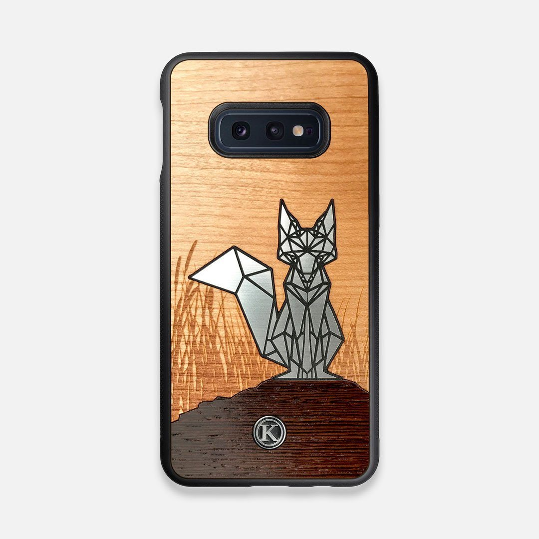 Front view of the Silver Fox & Cherry Wood Galaxy S10e Case by Keyway Designs