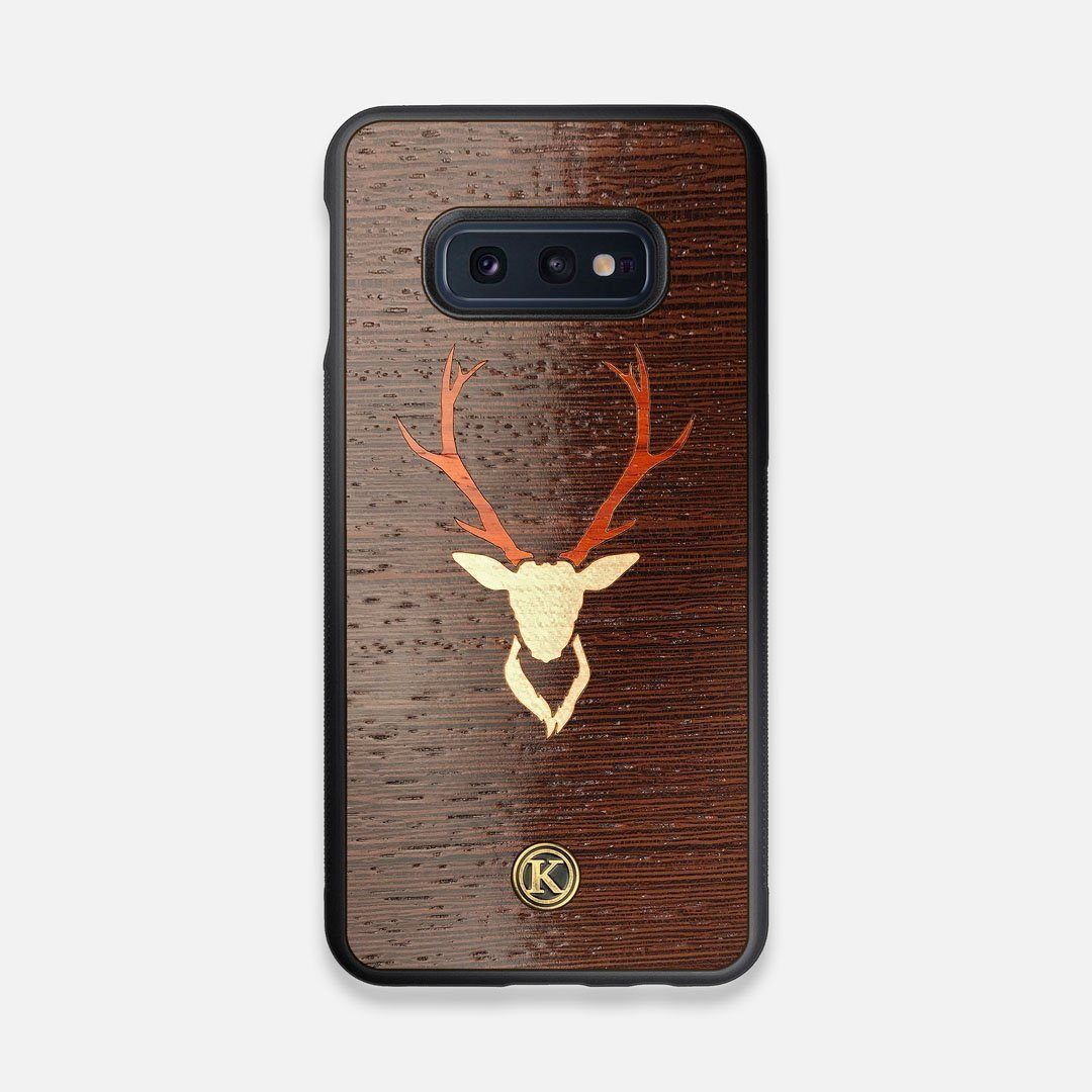Front view of the Stag Wenge Wood Galaxy S10e Case by Keyway Designs