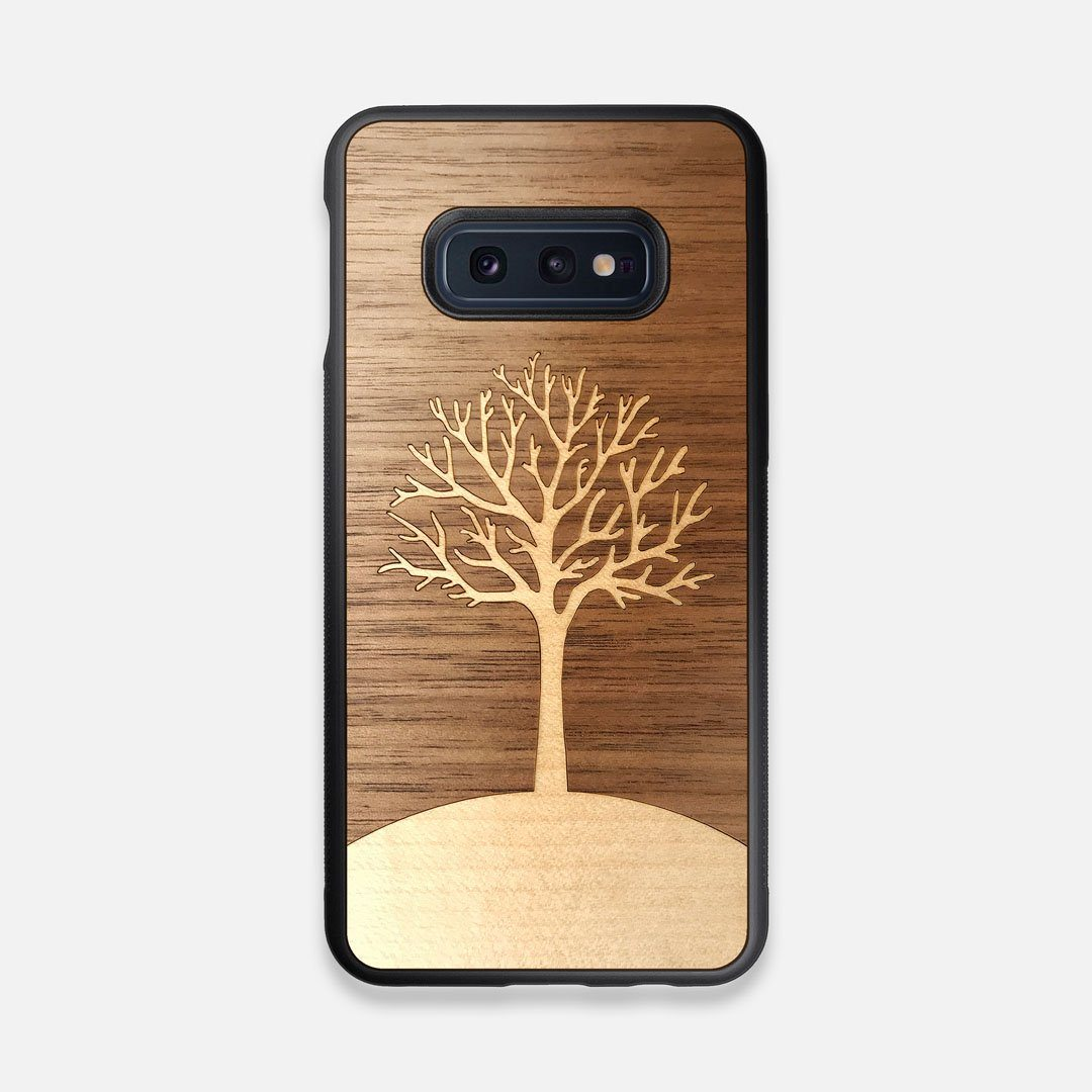 Front view of the Tree Of Life Walnut Wood Galaxy S10e Case by Keyway Designs