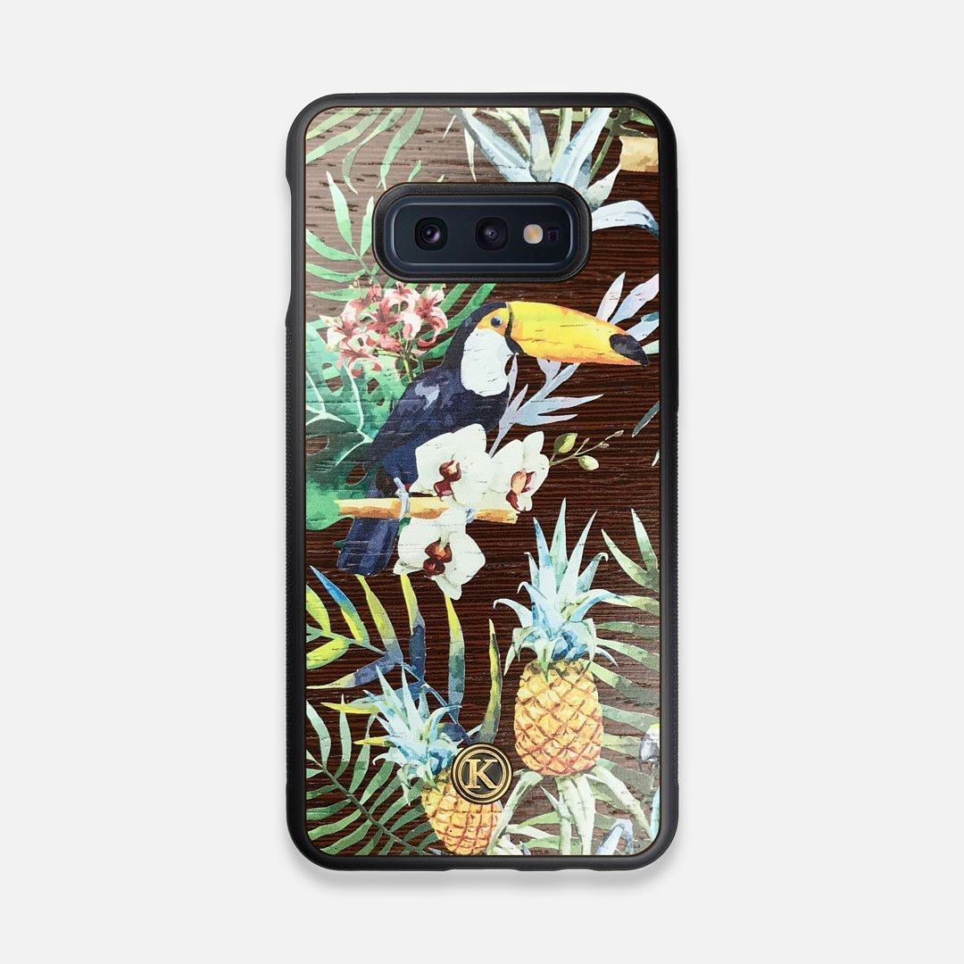 Front view of the Tropic Toucan and leaf printed Wenge Wood Galaxy S10e Case by Keyway Designs