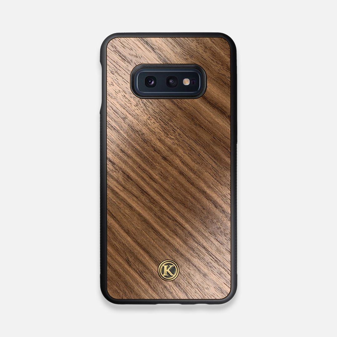 Front view of the Walnut Pure Minimalist Wood Galaxy S10e Case by Keyway Designs