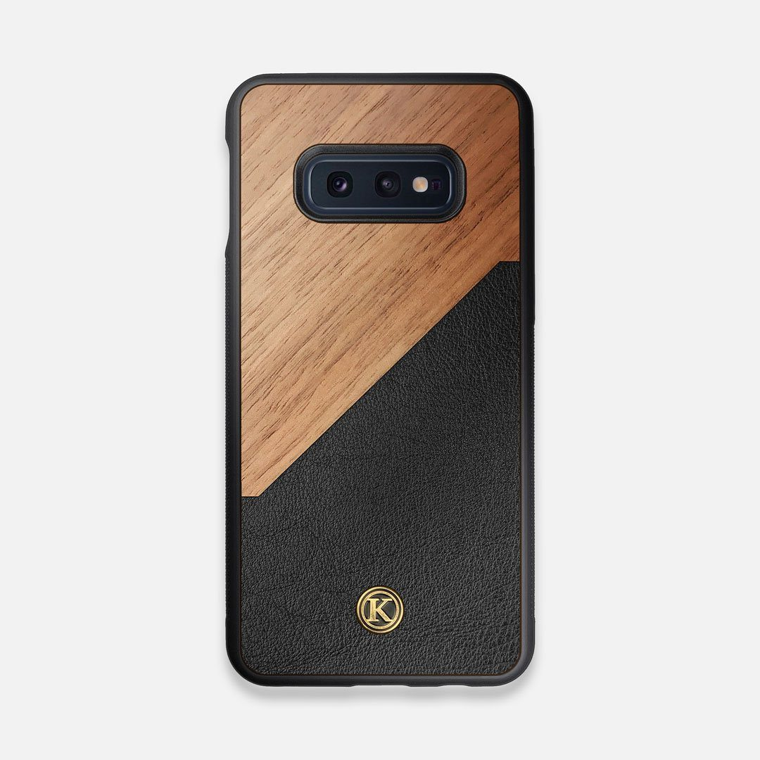 Front view of the Walnut Rift Elegant Wood & Leather Galaxy S10e Case by Keyway Designs