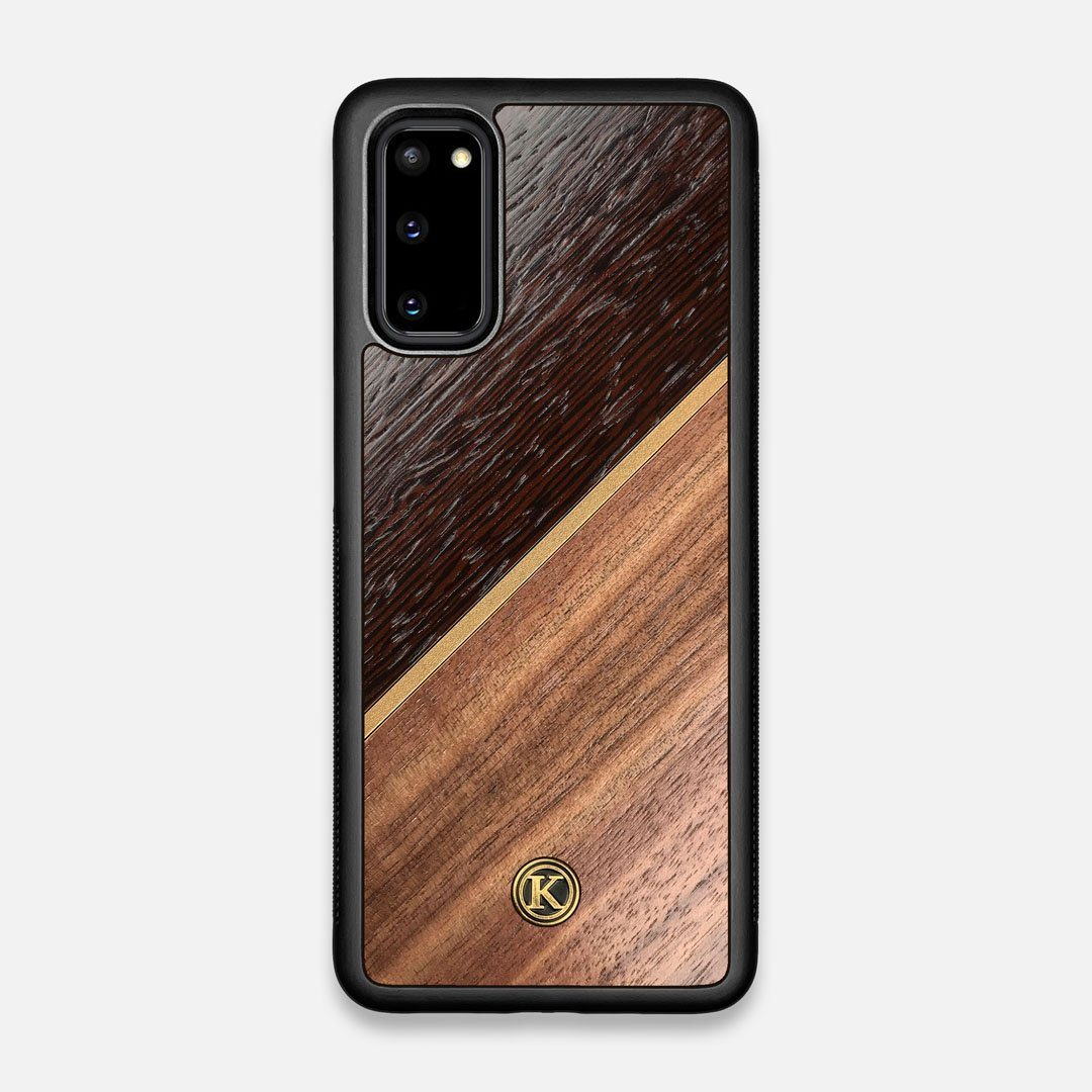 Front view of the Alium Walnut, Gold, and Wenge Elegant Wood Galaxy S20 Case by Keyway Designs