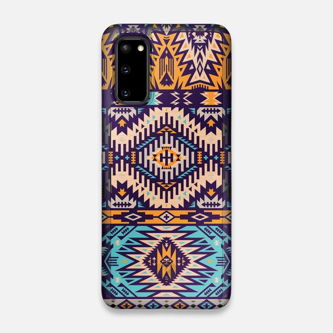 Front view of the vibrant Aztec printed Maple Wood Galaxy S20 Case by Keyway Designs