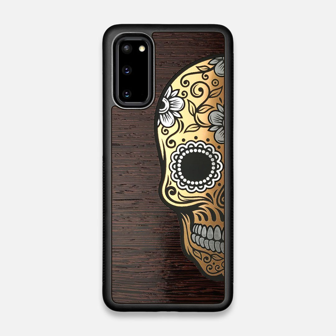 Front view of the Calavera Wood Sugar Skull Wood Galaxy S20 Case by Keyway Designs