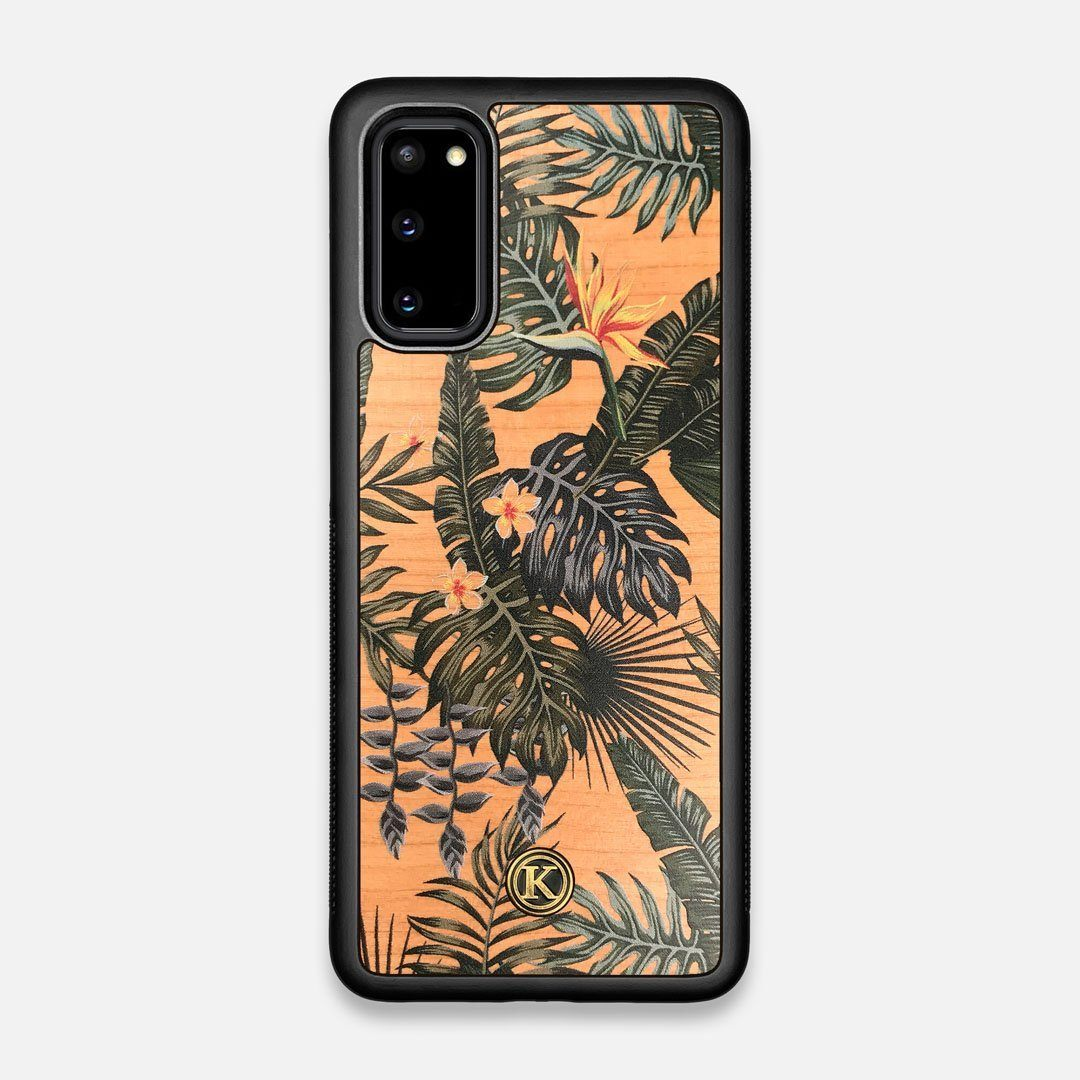 Front view of the Floral tropical leaf printed Cherry Wood Galaxy S20 Case by Keyway Designs