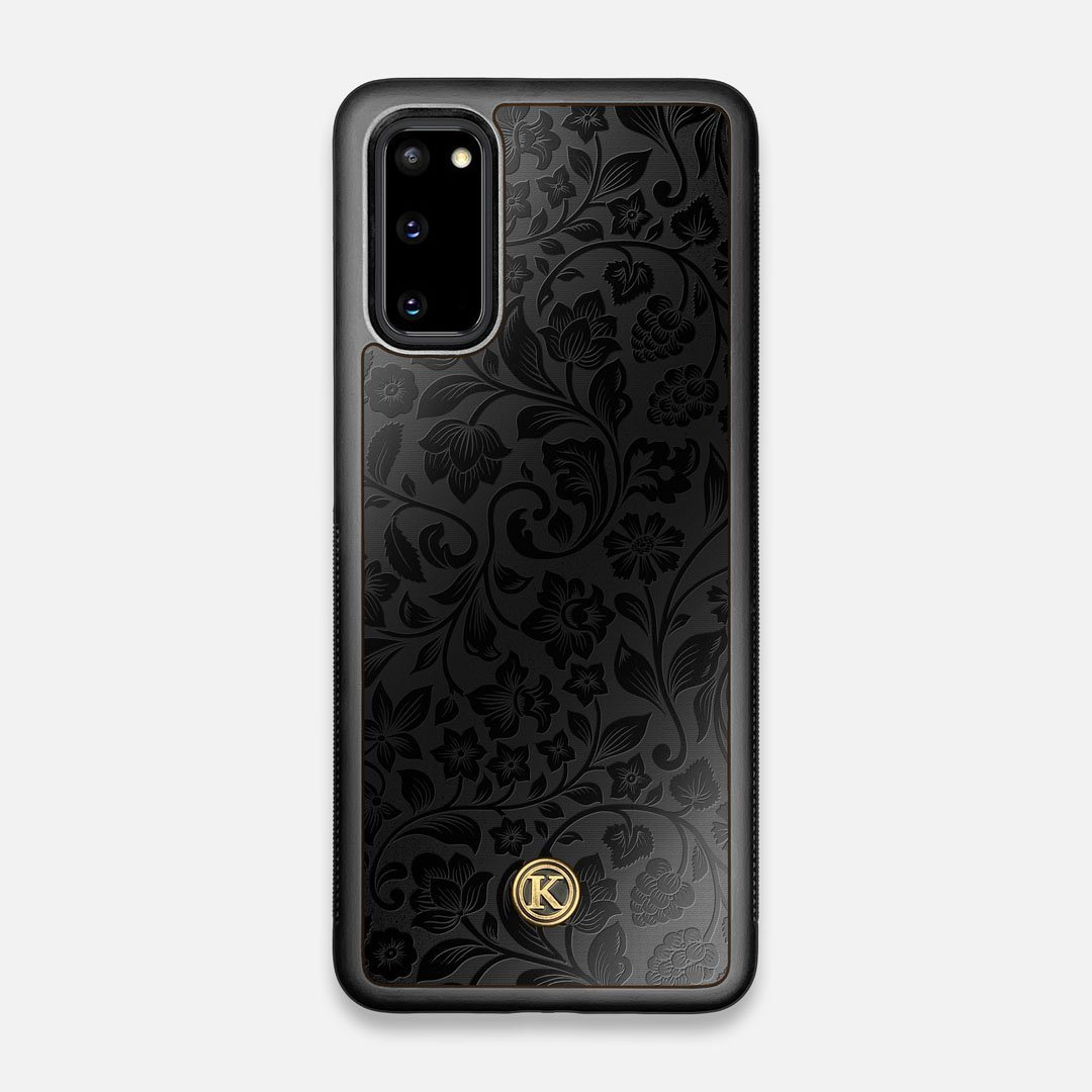 Front view of the highly detailed midnight floral engraving on matte black impact acrylic Galaxy S20 Case by Keyway Designs